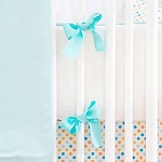Aqua & White Crib Bumper  |  Carnival Crib Collection