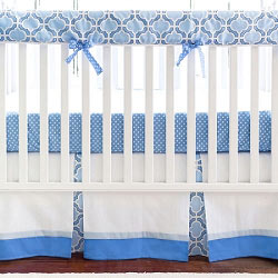 Blue & White Crib Rail Guard  |  Carousel Crib Collection