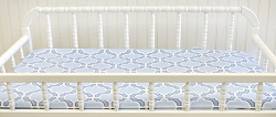 Blue & White Changing Pad Cover  |  Carousel Crib Collection