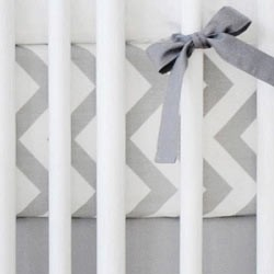 Gray Chevron Crib Sheet | Zig Zag in Slate