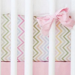 Chevron Crib Sheet  |  Pink, Yellow, Aqua & Lavender
