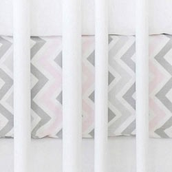 Pink & Gray Chevron Crib Sheet | Zig Zag in Pink & Gray Collection