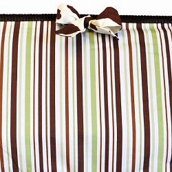 Chocolate and Mint Stripe Crib Bumper