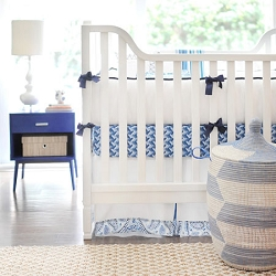 Blue & White Baby Bedding 4 Piece Set | Cobalt Moon Collection