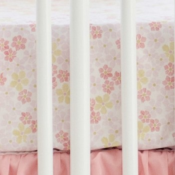 Gold and Coral Floral Crib Sheet | Coral Ombre Crib Collection