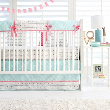 Coral and Aqua Crib Set | Desert Bloom Collection