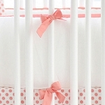 White & Coral Crib Bumper | Wanderlust in Coral Crib Collection