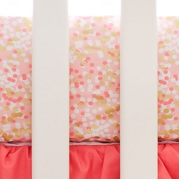 Coral and Gold Crib Sheet | Shimmer Reflections Crib Collection