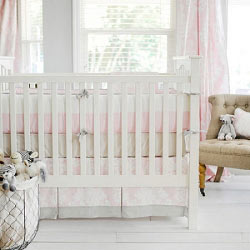 Pink Damask Baby Bedding | Cross My Heart Crib Collection