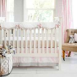 Gray & Pink Crib Rail Guard  |  Cross My Heart Crib Collection