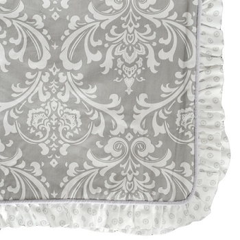 Gray Damask Crib Blanket with Lavender Trim