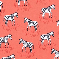Michael Miller Mini Zebras in Coral  |  Zebra Parade in Coral Crib Collection