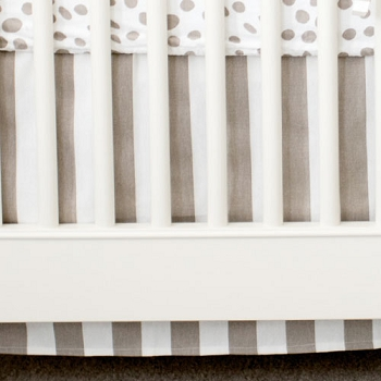 Khaki and White Stripe Crib Skirt | Dalmatian Spots Crib Collection