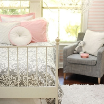 Damask Bedding  |  Stella Gray Crib Collection