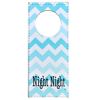 Doorknob Sign Aqua Chevron - Night Night