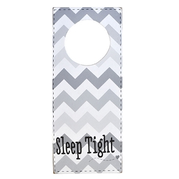 Doorknob Sign Gray Chevron - Sleep Tight