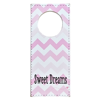 Doorknob Sign Pink Chevron - Sweet Dreams