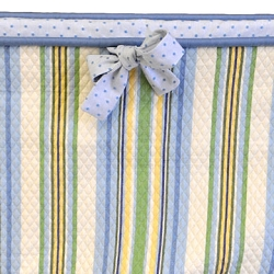 Double Corded Blue Stripe Crib Bumper