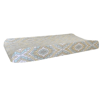 Yellow & Aqua Damask Changing Pad Cover  |  Dreamweaver Crib Collection