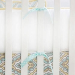 Yellow & Aqua Crib Bumper | Dreamweaver Crib Collection