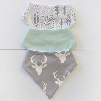 Baby Bandana Bib Set | Buck Forest in Mist Crib Collection