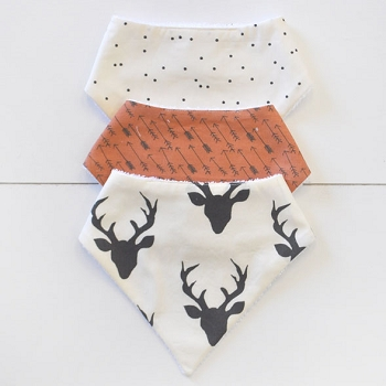 Baby Bandana Bib Set | Buck Forest in Night Rust