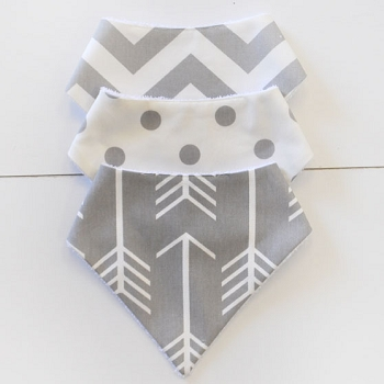 Baby Bandana Bib Set | Gray Arrow Collection
