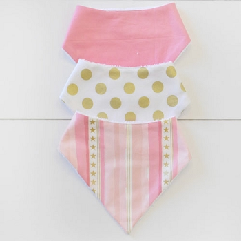 Baby Bandana Bib Set | Stars & Stripes in Pink