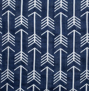 Navy Arrow Fabric | Shannon Fabrics Double Gauze Emarcher Premier Cobalt