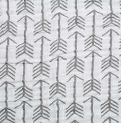 Gray Arrow Fabric | Shannon Fabrics Double Gauze Emarcher Premier Graphite