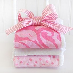 Pink Burp Cloths|Pink Extravaganza Crib Collection