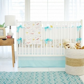 Aqua Woodland Baby Bedding | Faraway Forest Crib Collection