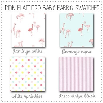 Flamingo Baby Crib Collection Fabric Swatches Only