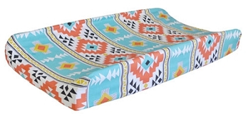 Tribal Changing Pad Cover | Four Corners Teal Crib Collection