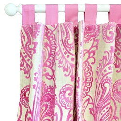 Velvet Pink Damask Curtain Panels  |  French Quarter Crib Collection