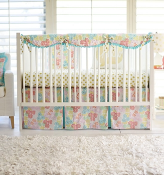 Coral and Aqua Floral Crib Rail Cover Set | Glitz Garden Bumperless Crib Collection