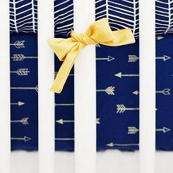 Navy & Gold Arrow Crib Sheet | Go Your Own Way Crib Collection
