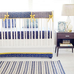 Boy Navy & Gold Arrow Crib Rail Guard Set | Go Your Own Way Crib Collection