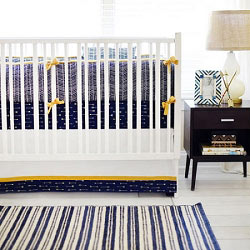 Navy and Gold Arrow Crib Bedding  |  Go Your Own Way Collection