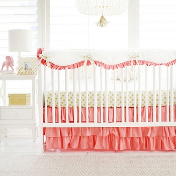 Coral Girl Crib Rail Guard Set | Gold Polka Dot in Coral Bumperless Collection