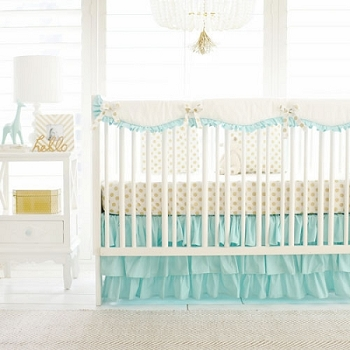 Gold and Mint Crib Rail Cover Set | Gold Polka Dot in Mint Bumperless Collection
