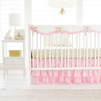 Pink and Gold Girl Crib Bedding Rail Cover Set | Gold Polka Dot in Pink Bumperless Collection