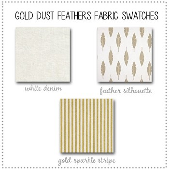 Gold Dust Feathers Crib Collection Fabric Swatches Only