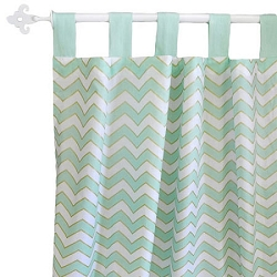 Gold & Mint Chevron Curtain Panels  |  Gold Rush in Mist Crib Collection