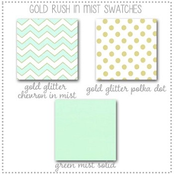Gold Rush in Mist Crib Collection Fabric Swatches Only