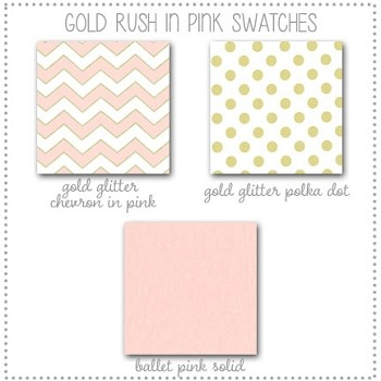 Gold Rush in Pink Crib Collection Fabric Swatches Only