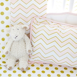 Gold and Pink Chevron Pillow | Gold Rush in Pink Crib Collection