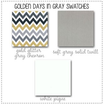 Golden Days in Gray Crib Bedding Collection Fabric Swatches Only