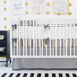 Gold & Gray Chevron Baby Bedding  |  Golden Days in Gray Crib Collection