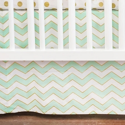 Gold and Mint Chevron Crib Skirt | Gold Rush in Mist Crib Collection